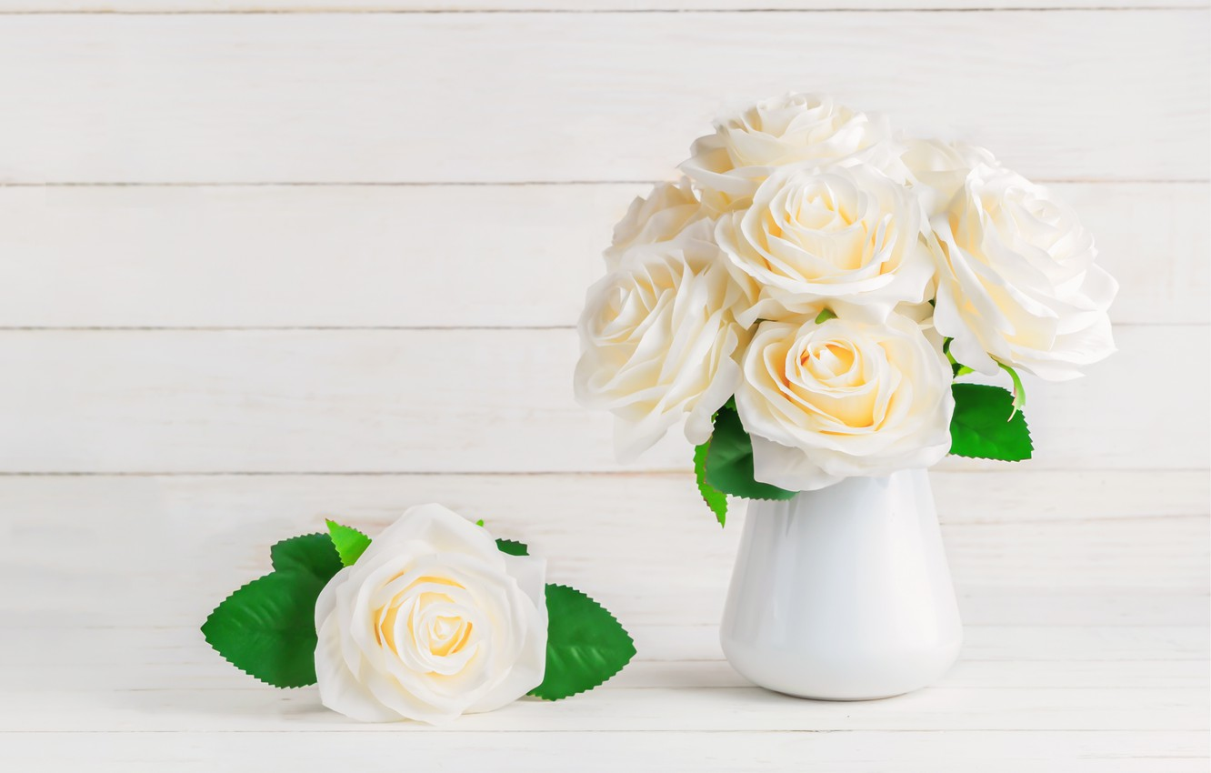 Photo wallpaper flowers, roses, bouquet, white, white, flowers, beautiful, roses