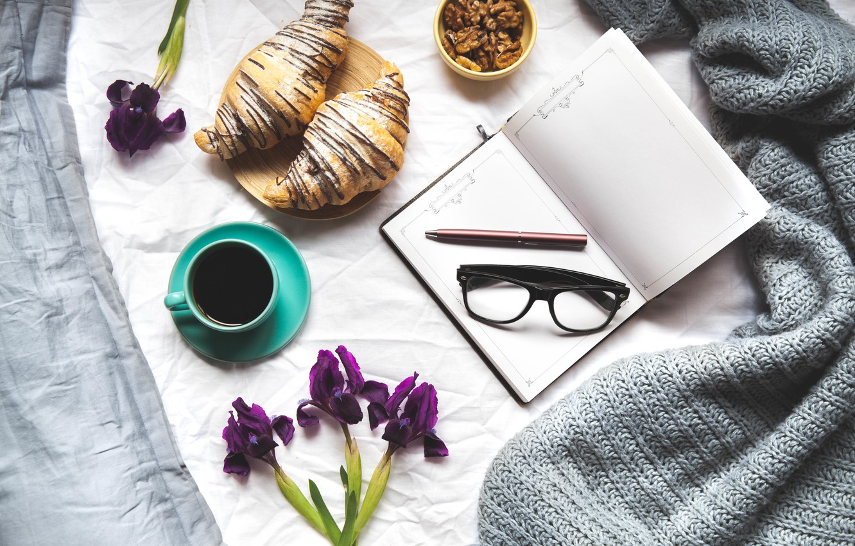 Photo wallpaper flowers, coffee, handle, Notepad, croissants