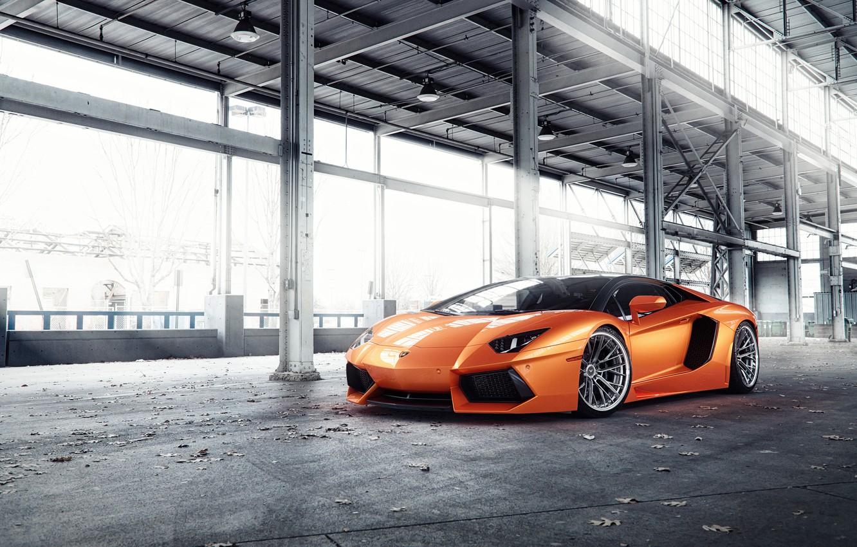 Photo wallpaper Lamborghini, Orange, Predator, Aventador, VAG, Sight