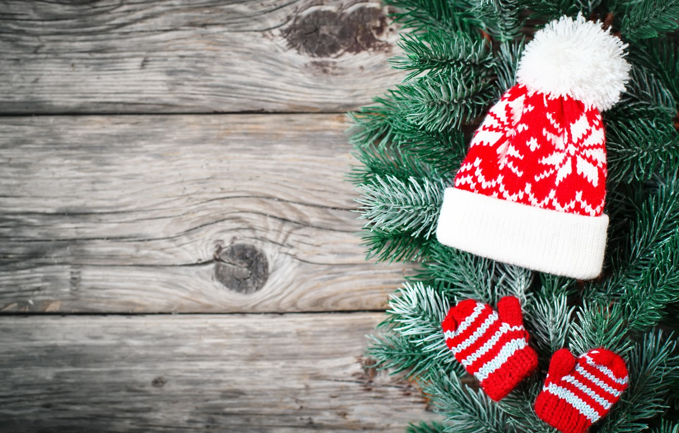 Photo wallpaper decoration, hat, New Year, Christmas, christmas, wood, merry, decoration, fir tree, fir-tree branches