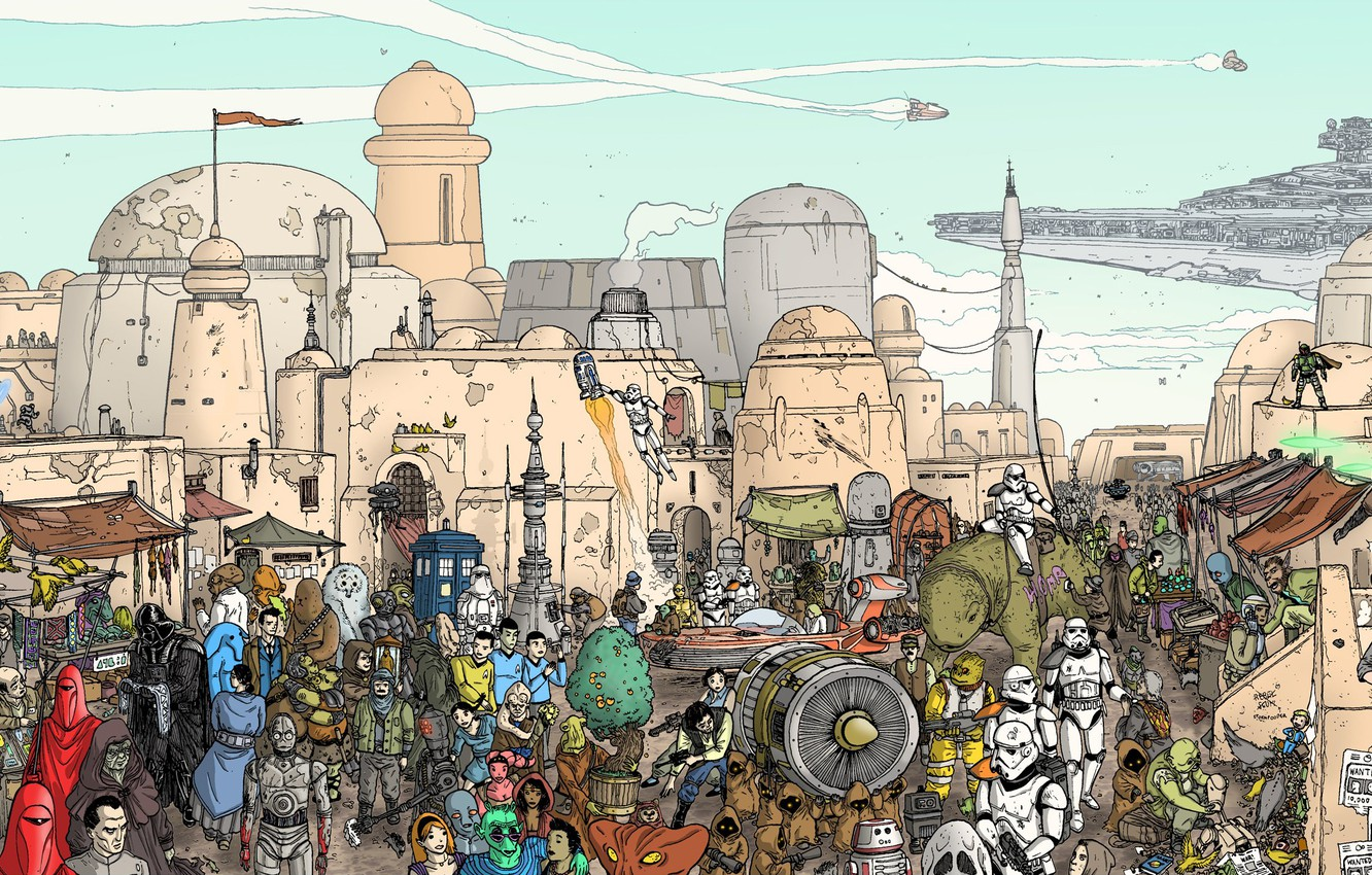 Photo wallpaper The city, Star Wars, Heroes, City, Fantasy, Art, Art, Fiction, Scene, Spaceship, Spaceship, Characters, Action, …