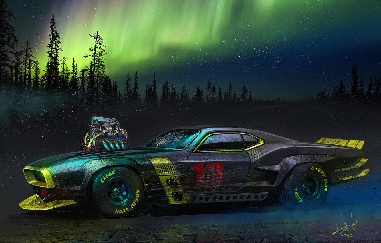 Wallpaper Auto Night Figure Machine Northern Lights Car
