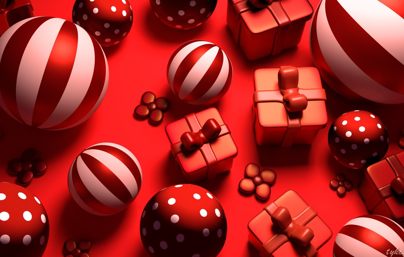 Photo wallpaper rendering, holiday, red, toy, new year, art, Tzuyu Kao, Red gifts