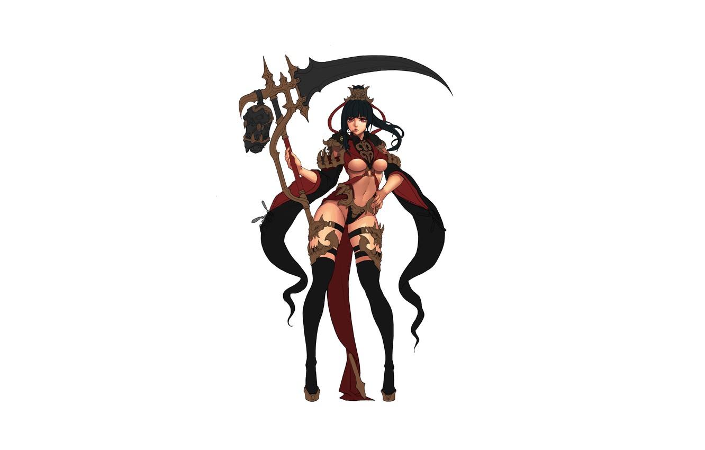 Photo wallpaper Girl, Fantasy, Beautiful, Sexy, Art, Style, Minimalism, Characters, Dress, Figure, Scythe, Daeho Cha