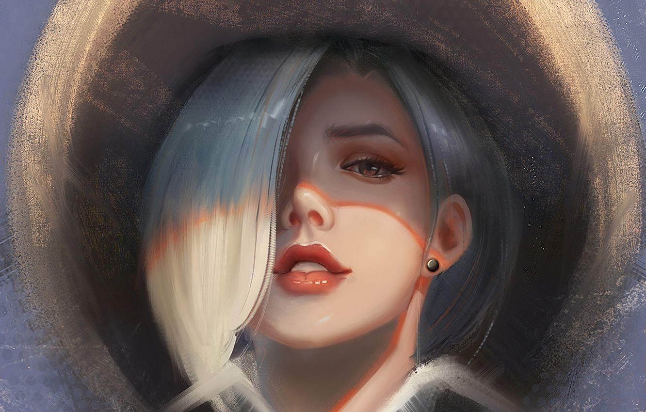Photo wallpaper face, hat, sponge, white hair, Ashe, Overwatch, light and shadow, Ash
