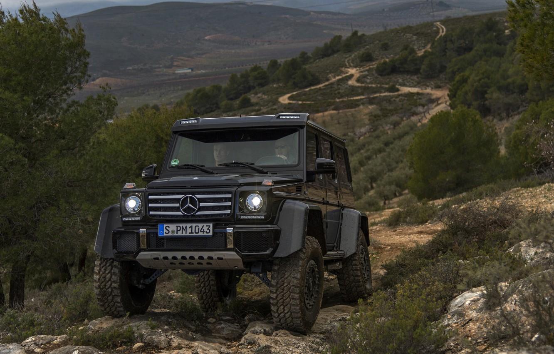 Photo wallpaper black, hills, vegetation, Mercedes-Benz, SUV, 4x4, G500, G-Class, 2015, G 500, 4x4², V8 biturbo