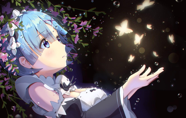 Photo wallpaper drops, night, girl, flowers, blue hair, moths, Life from scratch in an alternate world, Rem …