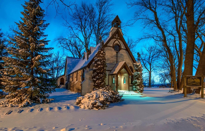 Photo wallpaper winter, snow, Church, chapel