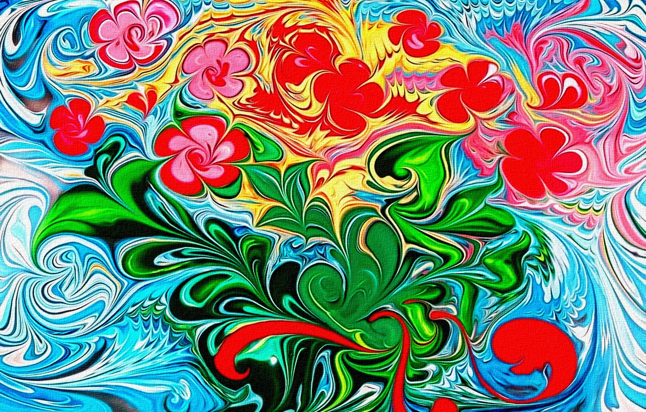 """Photo wallpaper abstraction, rendering, figure, canvas, acrylic, fantasy author, """"Spring bouquet after a long winter"""", the arrival …"""