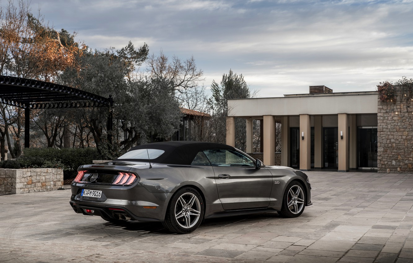 Wallpaper Ford Convertible 2018 The Soft Top Dark Gray Mustang