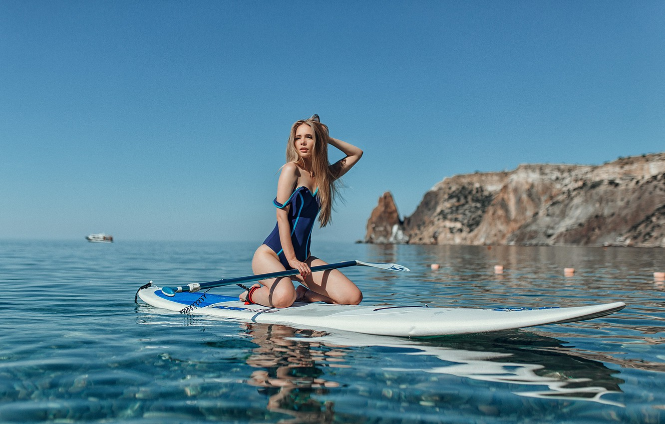Photo wallpaper swimsuit, water, Girl, wet, Board, Evgeny Freyer, Natalia Tarasenko