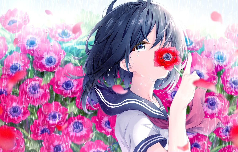 Photo wallpaper Flowers, Maki, Girl, haru (re ilust)