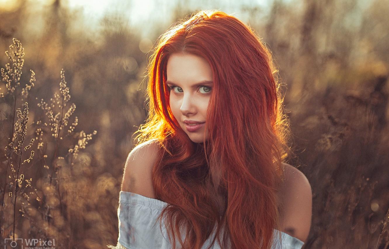 Photo wallpaper look, girl, face, hair, portrait, red, shoulders, redhead, bokeh, Wojtek Polaczkiewicz, Victoria Gajzler