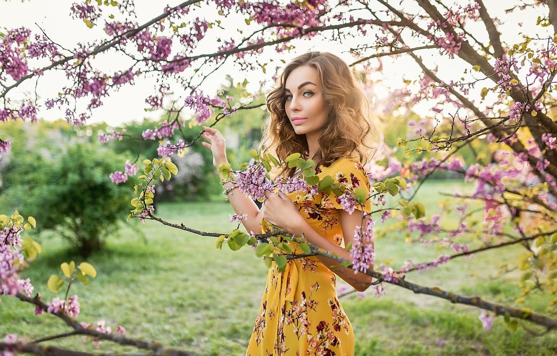 Photo wallpaper flowers, tree, pretty, blonde, A Diakov George