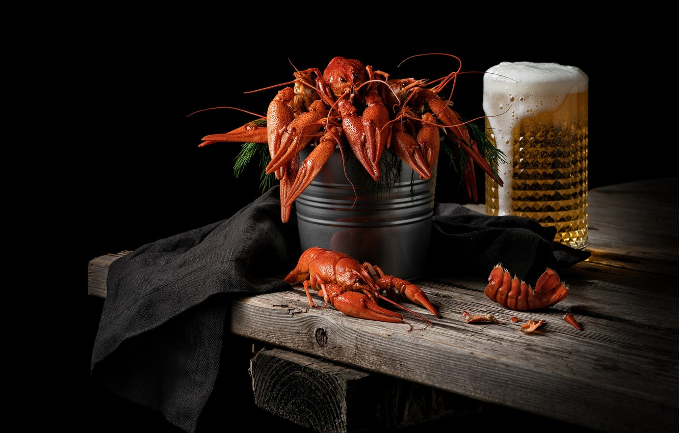 Photo wallpaper beer, cancers, crawfish with beer