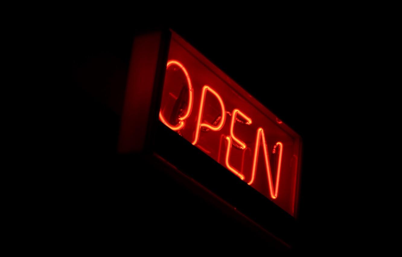 Photo wallpaper background, black, neon, sign, open, open