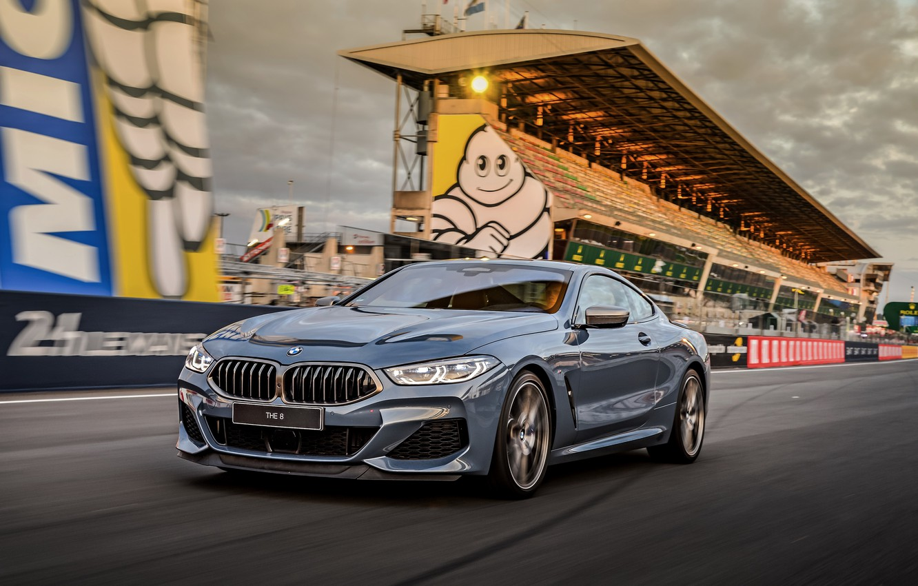 Photo wallpaper asphalt, coupe, BMW, track, Coupe, 2018, gray-blue, 8-Series, pale blue, M850i xDrive, Eight, G15