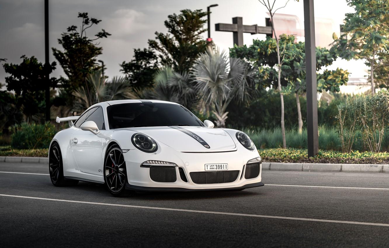 Photo wallpaper road, auto, white, 911, Porsche, GT3