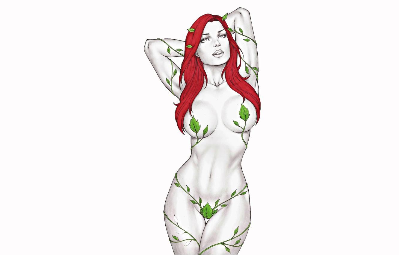 Photo wallpaper erotic, leaves, girl