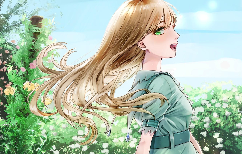 Photo wallpaper girl, flowers, the wind, meadow