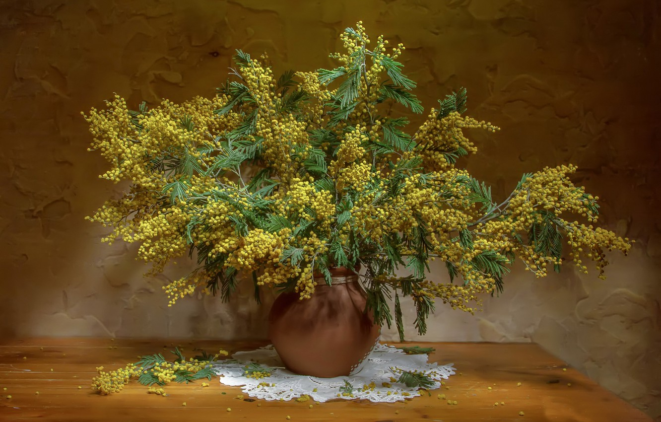 Photo wallpaper bouquet, Mimosa, The flavors of the holiday