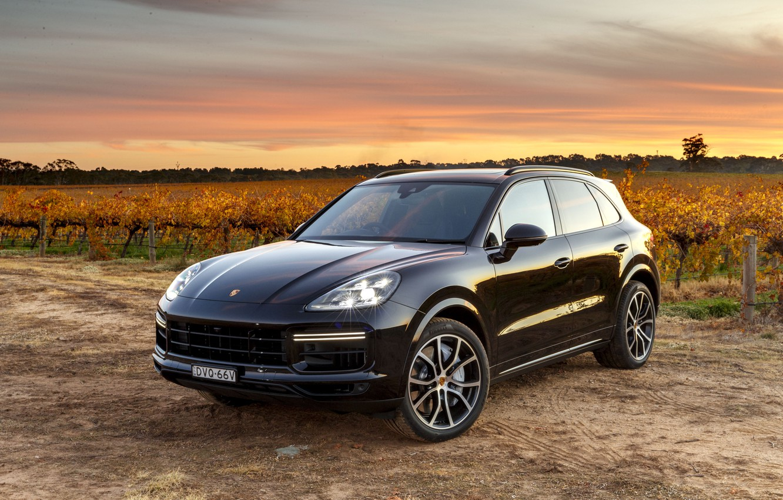 Photo wallpaper sunset, Porsche, Turbo, 2018, Cayenne, crossover