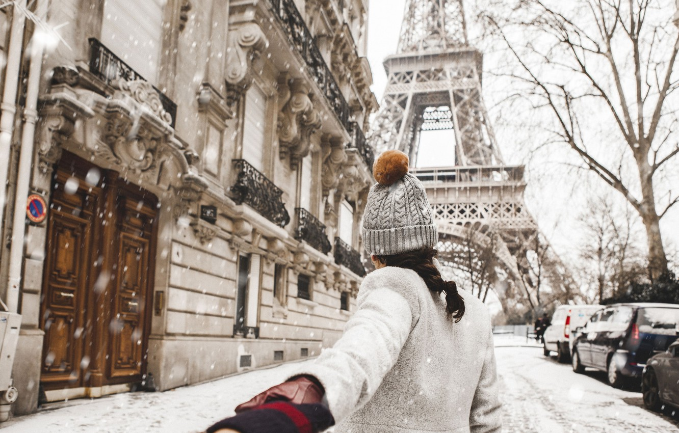 Wallpaper Love Paris Winter France Snow Street Wallpaper Woman Mood Images For Desktop Section Nastroeniya Download