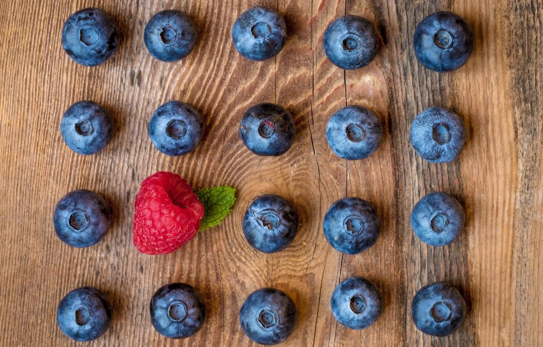 Photo wallpaper berries, raspberry, blueberries