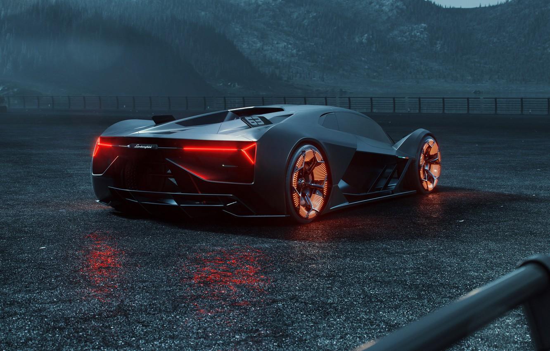 Photo wallpaper rendering, Lamborghini, supercar, rear view, hypercar, The Third Millennium