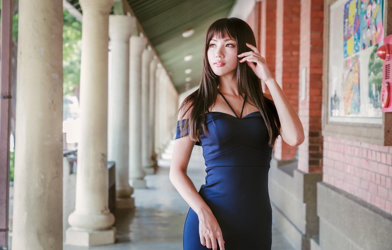 Photo wallpaper girl, dress, brunette, beauty