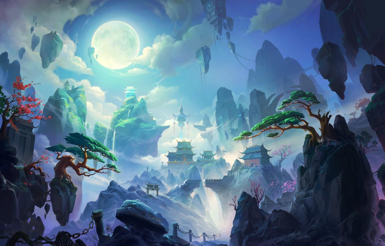Photo wallpaper Mountains, The city, Rocks, The moon, Palace, Castle, China, City, Fantasy, Landscape, Art, Fiction, Heaven, …