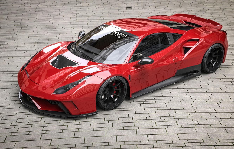 Wallpaper Red, Auto, Machine, Ferrari, Supercar, Rendering