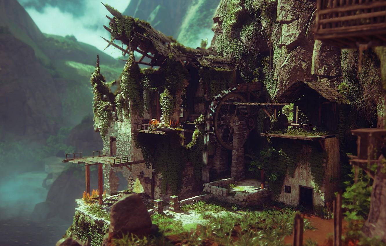Photo wallpaper ruins, Naughty Dog, Playstation 4, water wheel, Uncharted 4