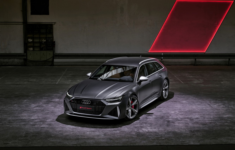 Photo wallpaper Audi, the room, universal, RS 6, 2020, 2019, dark gray, V8 Twin-Turbo, RS6 Avant