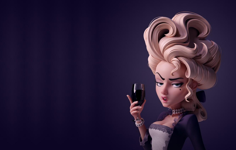 Photo wallpaper rendering, wine, glass, art, lady, Danny Mac, Let them eat cake