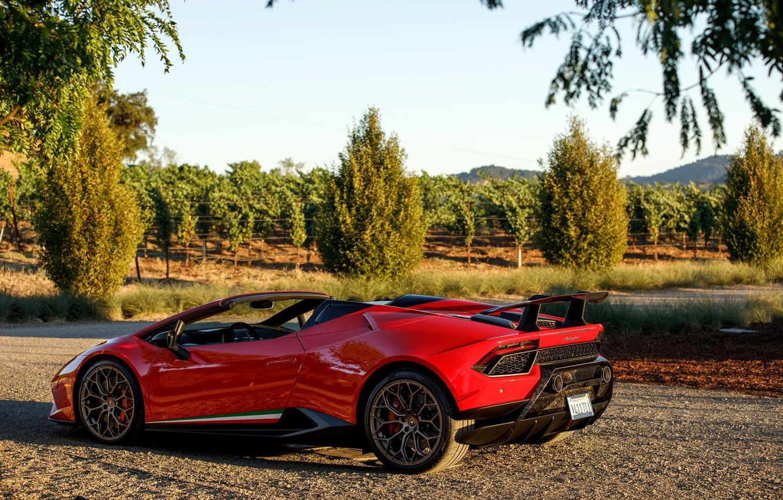 Photo wallpaper Lamborghini, supercar, Spyder, 2018, Performante, Huracan, North America version