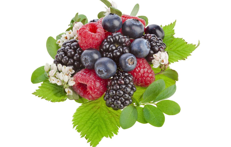 Photo wallpaper berries, raspberry, blueberries, BlackBerry