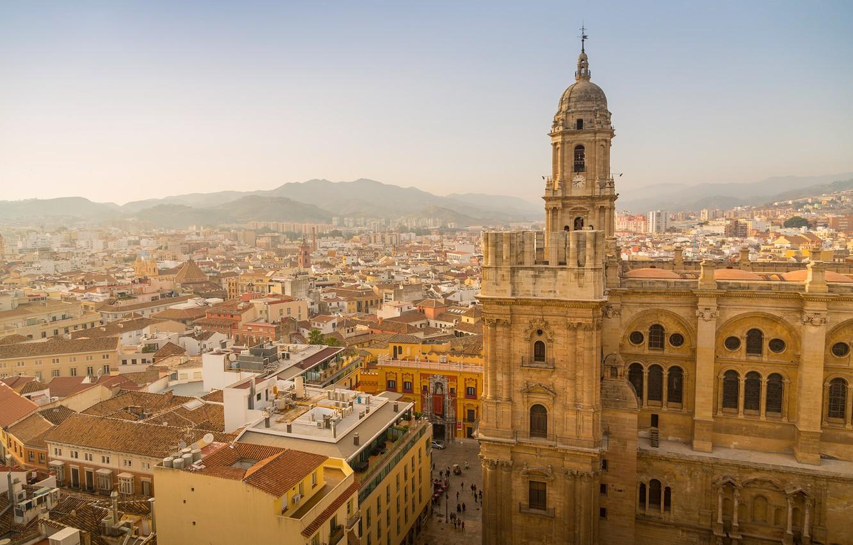 Photo wallpaper home, panorama, Cathedral, Spain, Malaga