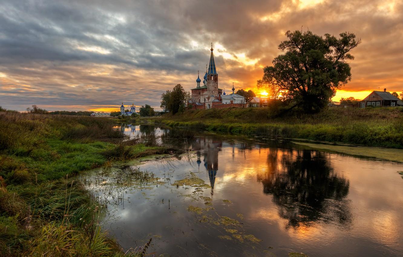 Photo wallpaper landscape, sunset, nature, river, village, the evening, Bank, temples, Ed Gordeev, Dunilovo, Gordeev Edward, Eduard …
