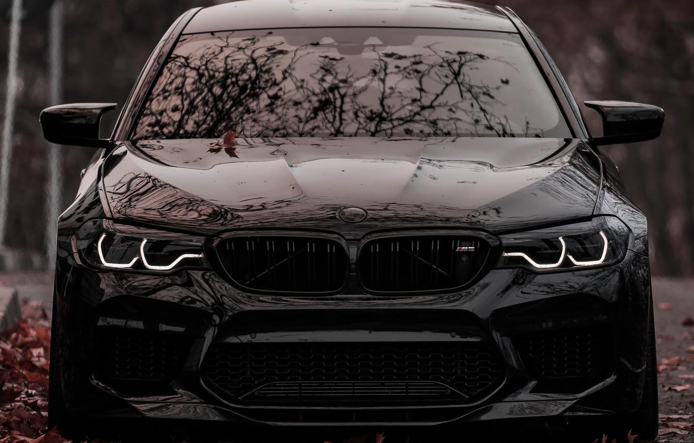 Photo wallpaper BMW, Black, Autumn, Sight, F90