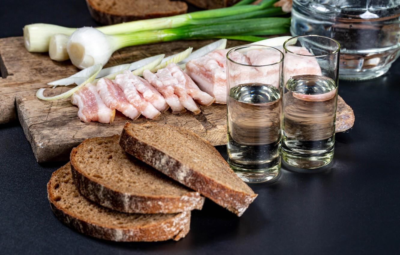 Photo wallpaper bow, bread, vodka, glasses, fat