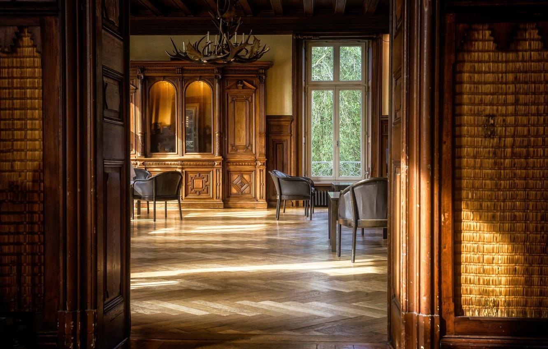 Photo wallpaper room, interior, door, window, chairs, chandelier, wardrobe, hall, living room