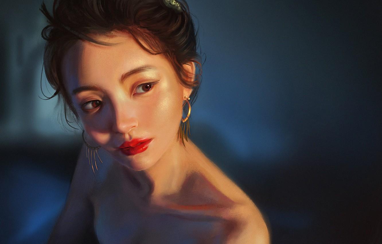Photo wallpaper Girl, Figure, Look, Face, Girl, Brunette, Earrings, Art, Art, Brunette, Beauty, Beautiful, Face, Look, Brown …