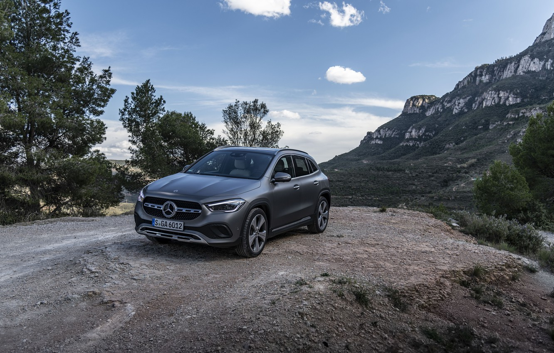Photo wallpaper mountains, grey, rocks, Mercedes-Benz, GLA, 4MATIC, 2020, Worldwide, Progressive Line, 220 d