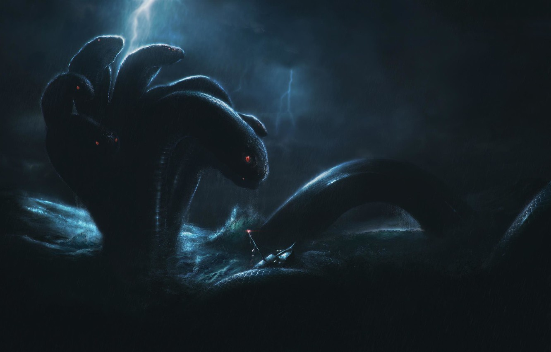 Wallpaper Water Sea Storm Snakes Fiction Concept Art
