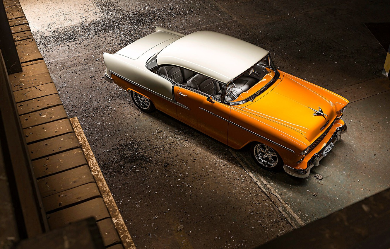 Photo wallpaper Orange, Bel Air, White, Chevy, Vintage