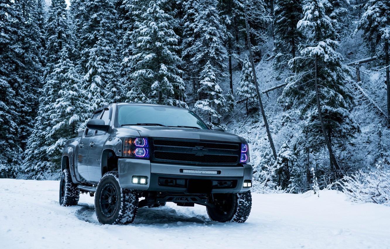 Photo wallpaper winter, snow, trees, Chevrolet, SUV, trees, pickup, winter, snow, SUV, pickup truck