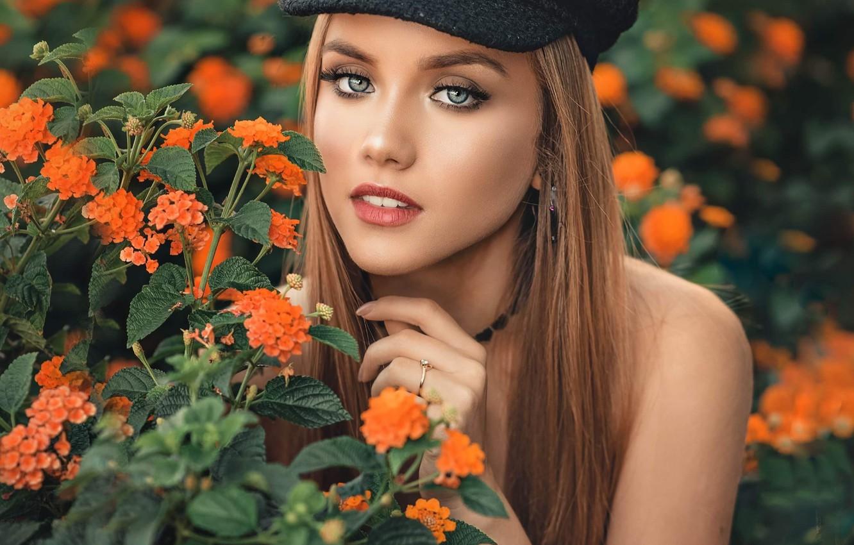 Photo wallpaper look, girl, flowers, nature, plants, makeup, cap, brown hair, shoulder