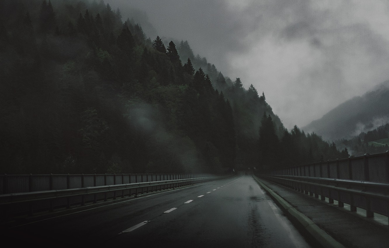 Photo wallpaper Road, Bridge, Forest, Sadness, The darkness, Rain, Darkness, Bridge, Rain, Road, Forest, The atmosphere, Atmosphere, …