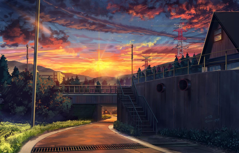 Photo wallpaper landscape, sunset, street, art